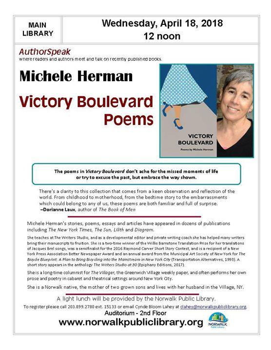 AuthorSpeak Michele Herman – norwalk arts
